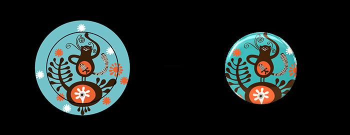 缶バッジデザインと、完成した缶バッジの例、2枚目です。